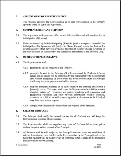 representation agreement template 9 best images of manufacturer rep agreement template