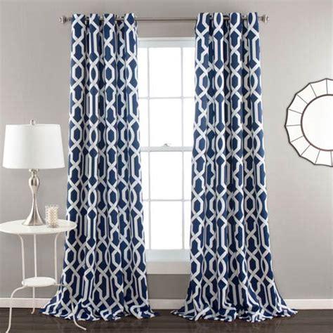 pattern navy blue curtain edward navy 84 x 52 inch curtain panel pair lush decor
