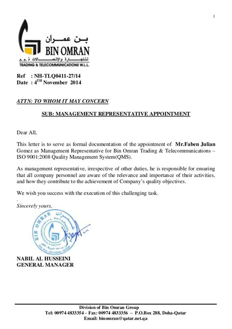 Appointment Letter Representative Faben Mr