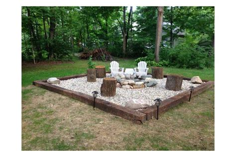Railroad Tie Landscaping Ideas Pit With Gravel And Railroad Ties Patio And Deck Pinterest Railroad Ties Backyard
