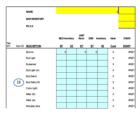 Bar Inventory Template 11 Free Word Excel Pdf Documents Download Free Premium Templates Free Liquor Inventory Spreadsheet Template