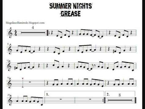 summer nights (grease) partitura flauta youtube