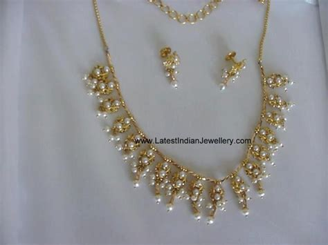 light weight gold necklace designs light weight trendy pearl necklace latest indian