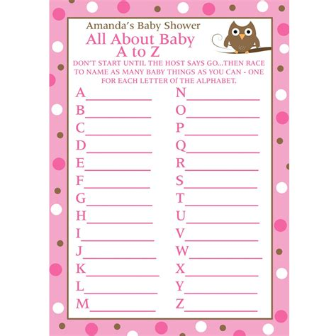 printable alphabet game for baby shower 24 personalized baby shower a to z game cards baby owl
