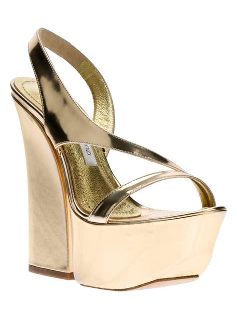 gold metallic sandals gianmarco lorenzi platform sandal in gold metallic lyst