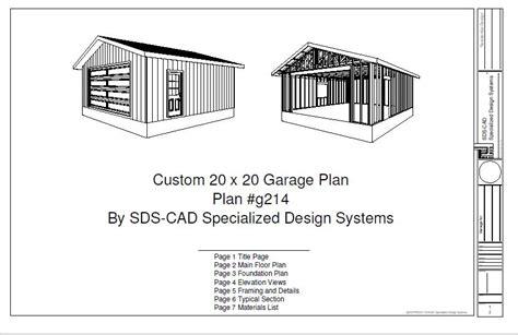 free premium members g215 20 x 20 garage plans free house plan reviews