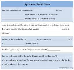 apartment lease agreement form apartment rental lease