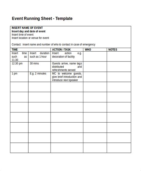 run template run sheet template 6 free word excel pdf document