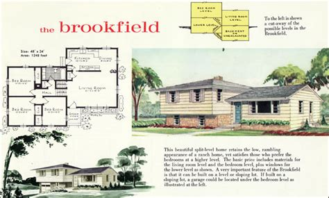 How To Design A House Floor Plan 1960 modern style tri level home plan the brookfield