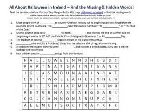 image of halloween in ireland worksheet free printable