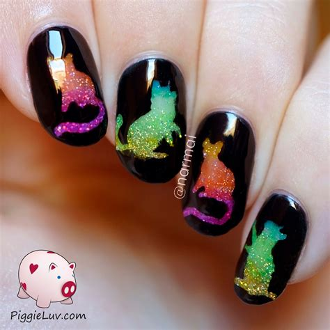 piggieluv glitter rainbow cats nail with opi color paints