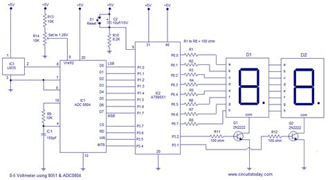 digital thermometer using 8051 lm35 temperature sensor