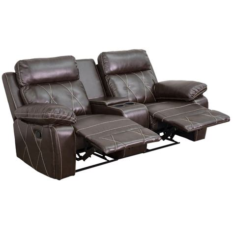Reclining Seat Theater by 2 Seat Leather Reclining Home Theater Seating In Brown