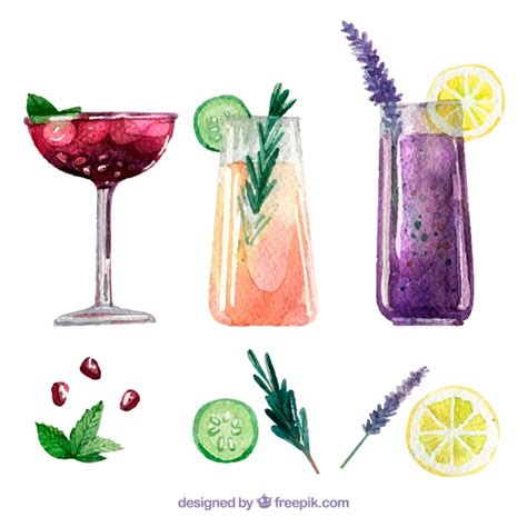 watercolor cocktail delicious watercolor cocktails and ingredients vector