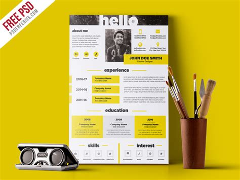 Free Creative Resume Template by Creative And Resume Template Free Psd