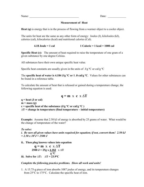 Specific Heat Worksheet Answers by 28 Specific Heat Worksheet Answers 19 Best Images Of