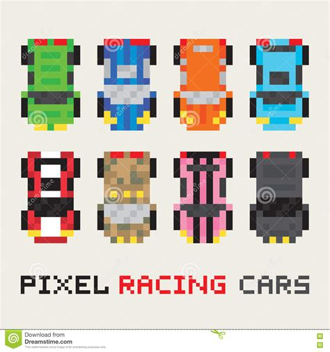 pixel art car pixel art style racing cars vector set stock vector