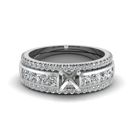bridal trio set with black in 14k white gold