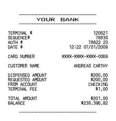 Atm Receipt Template by Auto Repair Receipt Hardhost Info