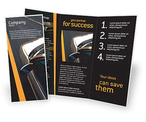 car on highway brochure template design and layout