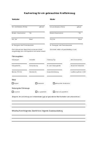 Kaufvertrag Auto Text by Kaufvertrag F 252 R Ein Gebrauchtes Kraftfahrzeug