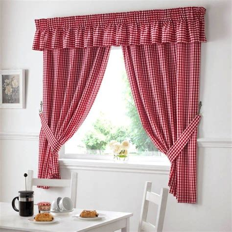 gingham check white kitchen curtains drapes w46 x l48