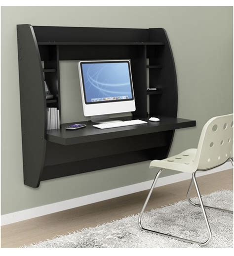 Wall Mounted Desk by Wall Mounted Desk With Storage Black In Desks And Hutches