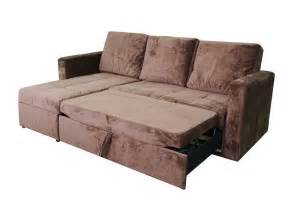 chocolate microfiber sectional sofa bed with left facing