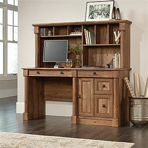 sauder palladia vintage oak computer desk with hutch
