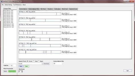 antconc 324 tutorial 1 concordance tool basic antconc 3 2 4 tutorial 3 concordance plot tool basic