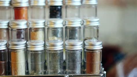 Colorful Spice Rack Colorful Spices In A Spice Rack Stock Footage
