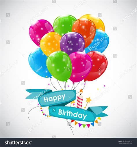 balloon birthday card template happy birthday card template balloons illustration stock