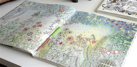 secret garden colouring book coloured in colouring secret garden the morning garden par