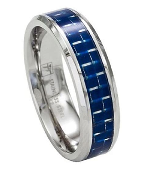 mens wedding bands with blue inlay stainless steel s wedding band promise ring w blue