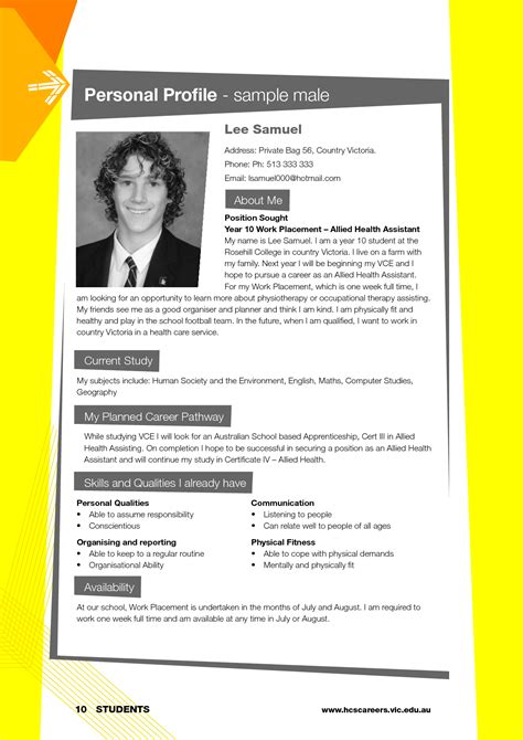 best photos of personal profile template personal