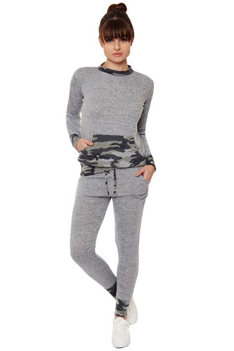 Loungewear Set Print Top womens camouflage pouch print loungewear top