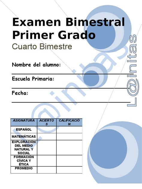 examen bimestral del primer bloque de sexto grado ciclo escolar 2014 1er grado bimestre 4