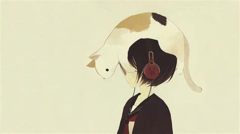 Anime Cat by Headphones Headphones Anime Cats