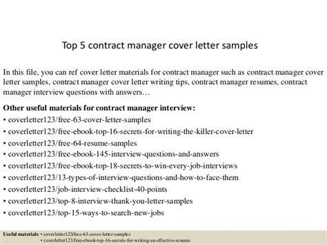 Commercial Contract Manager Cover Letter by Top 5 Contract Manager Cover Letter Sles