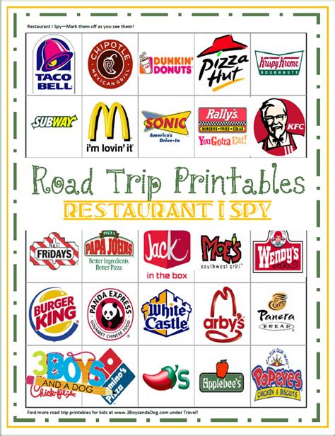 printable road trip games for tweens road trip printables for kids restaurant i spy free car