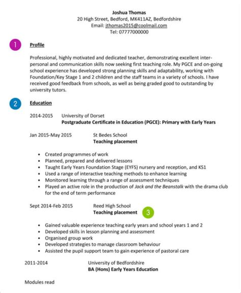10 teaching curriculum vitae templates pdf doc free