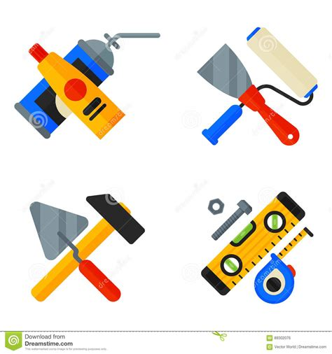 home repair tools icons working construction equipment set