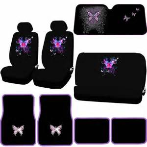 Purple Car Seat Covers Uk 11pc Mystical Butterfly Black Purple Seat Covers Mats Sun