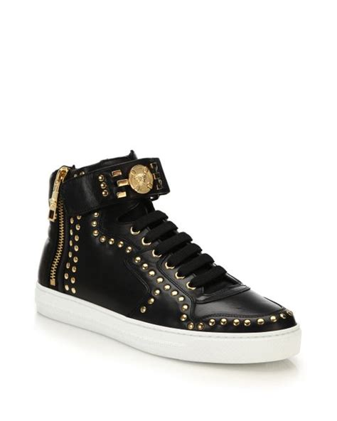 versace studded high top sneakers versace studded logo high top sneakers in black for