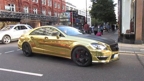 gold mercedes chrome gold mercedes cls63 amg acceleration