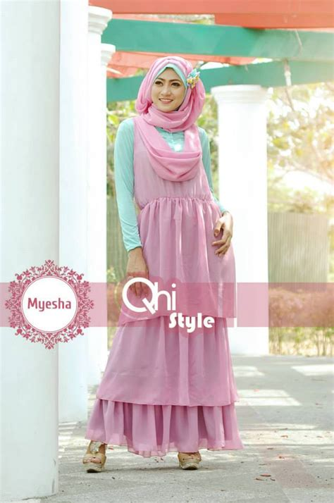 Manset Badan By Nindah Fashion myesha by qhi style dusty pink baju muslim gamis modern