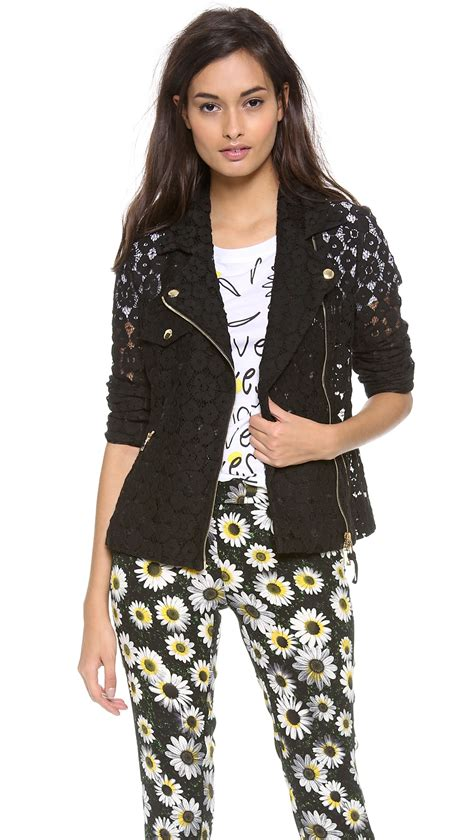 cheap moto jacket moschino cheap and chic lace moto jacket in black lyst