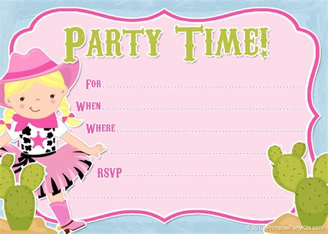 printable toddler birthday invitations free printable cowgirl party invitation from
