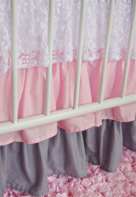 Pink And White Damask Crib Bedding Pink White Lace Damask Ruffle Crib Bedding Set By Caden