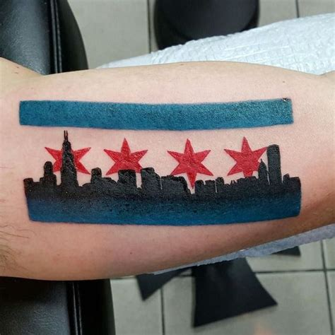 chicago flag tattoo chicago flag and skyline by donmeatball
